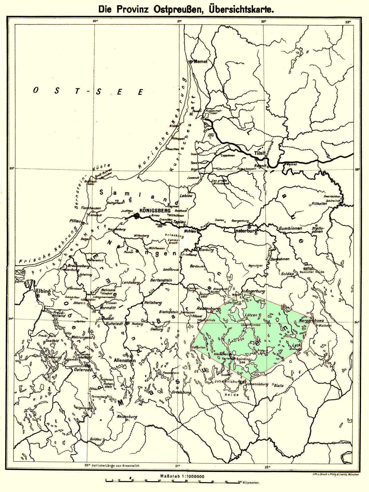 Karte Ostpreußen.Polen Masuren Geschichte